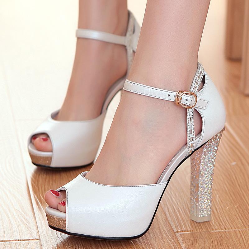 2014夏季新款 真皮防水台高跟凉鞋 厚底粗跟鱼嘴鞋 甜美羊皮女鞋