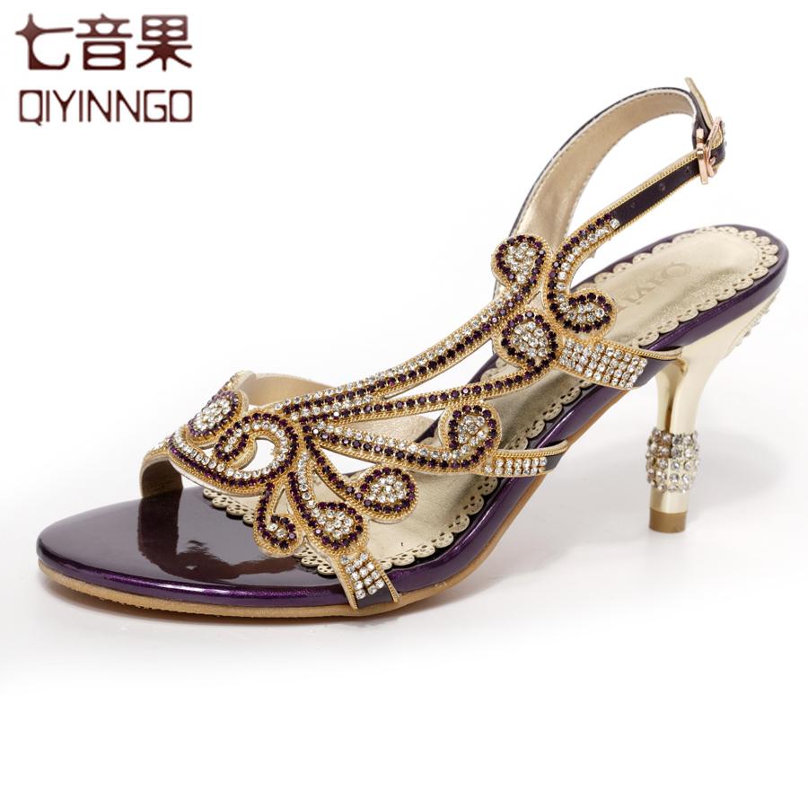 七音果2014春夏新品凉鞋 真皮宴会水钻女鞋 奢华性感高跟女士鞋
