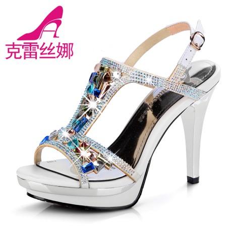 女凉鞋2014新款水钻凉鞋女高跟鞋 防水台 细跟 水晶带钻高跟女鞋