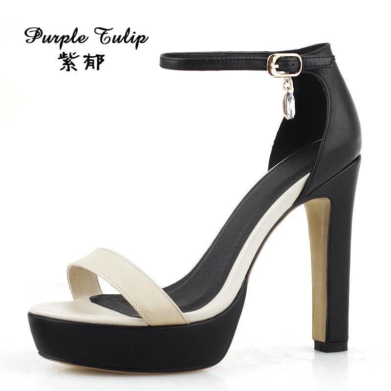 紫郁宝丽来2015夏季新款女鞋欧美防水台高跟凉鞋粗跟罗马鞋女式鞋