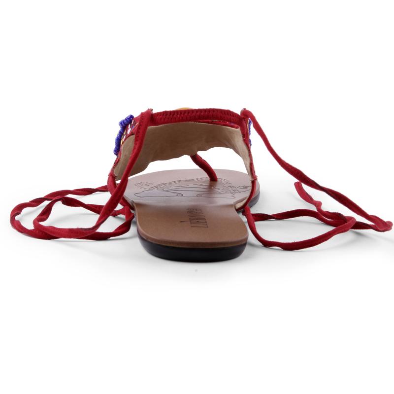 裂帛2015夏 彩色串珠绣花绑带夹趾平底凉鞋女 赤蔓