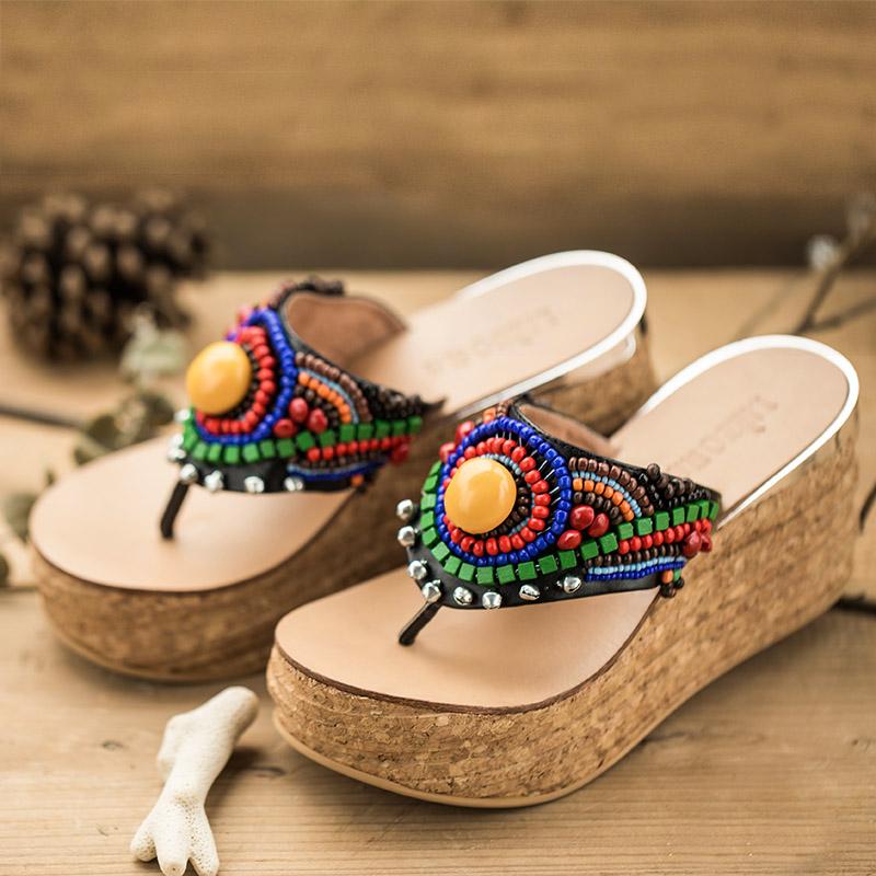 裂帛2015夏季新款 手工钉珠坡跟凉拖鞋 人字拖 女鞋