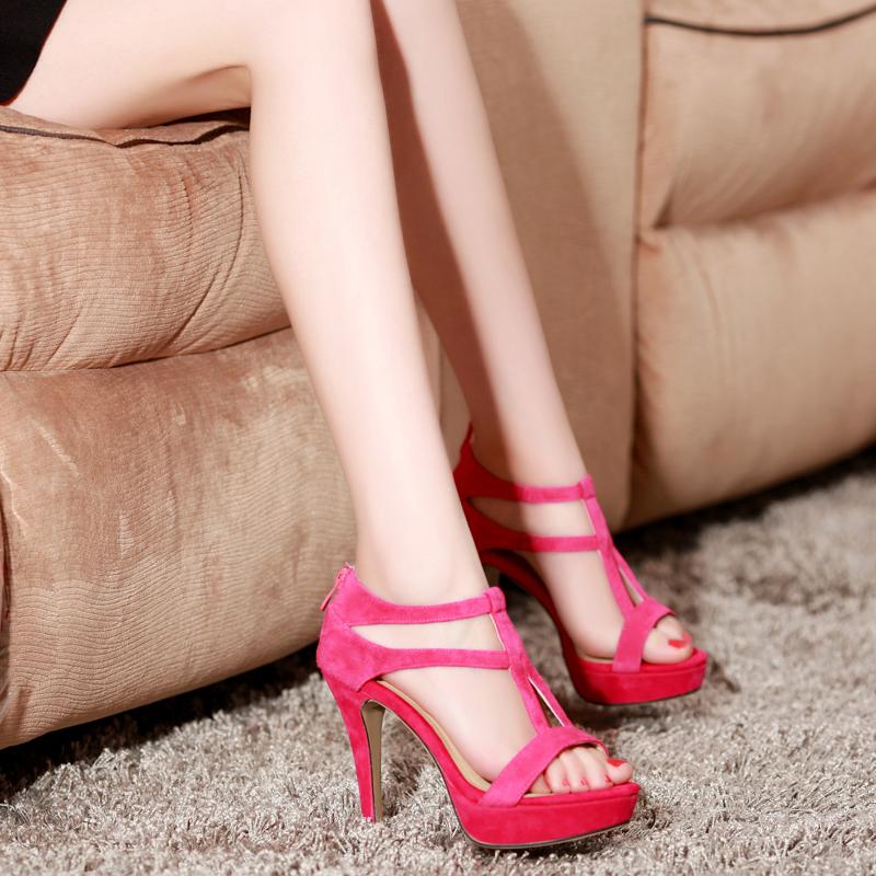 紫郁宝丽来凉鞋2015女鞋新潮罗马鞋防水台鱼嘴高跟鞋夏天女式凉鞋