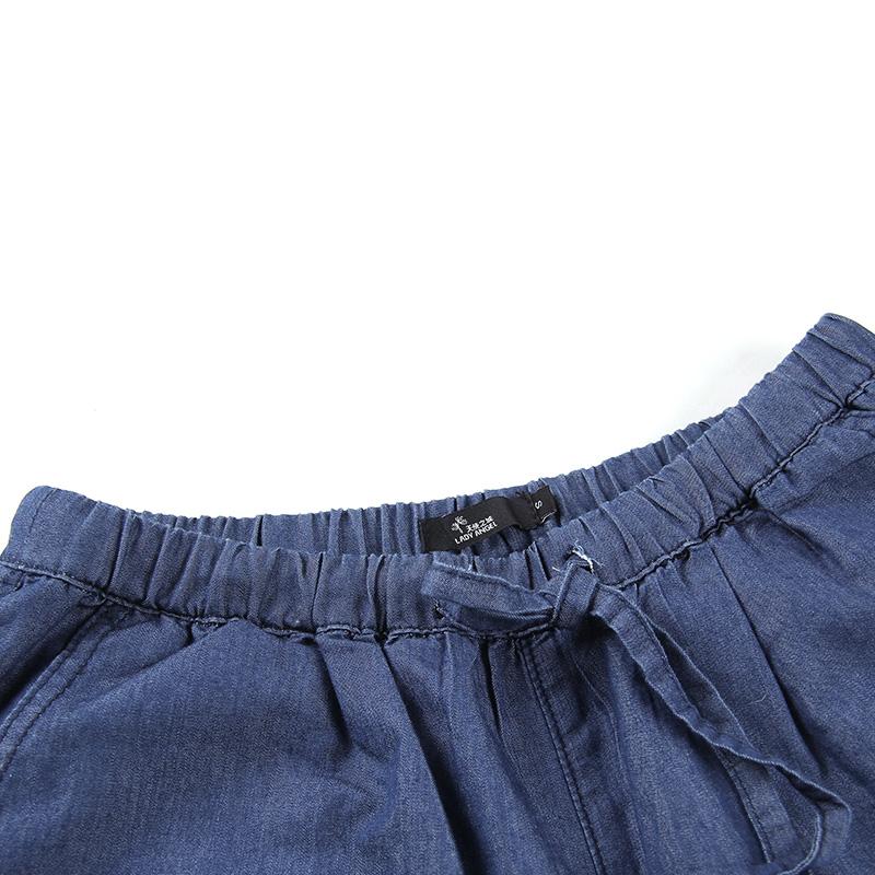 呛口小辣椒2015夏新款休闲运动松紧腰口袋哈伦牛仔短裤